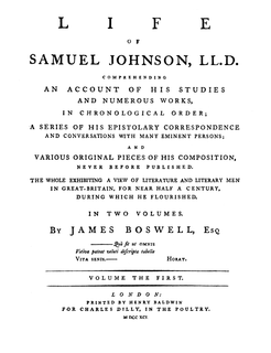<i>Life of Samuel Johnson</i> biography by Boswell