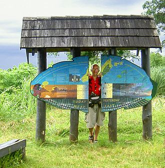 "Taveuni - Sign ""Between Yesterday And Today"" at 180th meridian (International Date Line) in Taveuni"