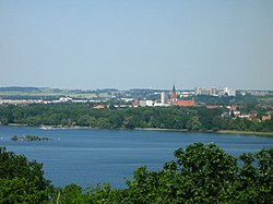 Neubrandenburg skyline with Tollensesee