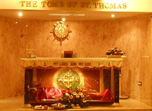 Mylapore - The tomb of Thomas the Apostle in San Thome Basilica.