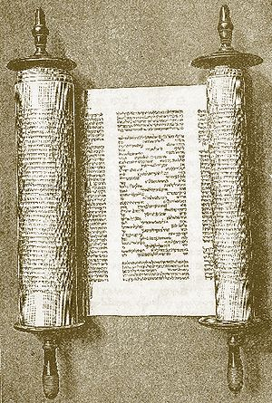 Parashah - Image of a modern Torah scroll open to the Song of the Sea (Exodus 15:1-19) with special layout visible.