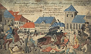 "Battle of the Square - The Battle of the Square arose when the Swedish governor, Count Baltzar von Platen put cavalry towards oslo citizens and students on 17 May 1829. King Charles XIV John had forbidden any festive celebration of the day, but a bigger crowd had the afternoon greeted steamship ""Constitutionen"" s arrival with cheers and song and was then dragged up to Stortorvet Spreckled penn drawing by Literat Reimers / National Library of Norway"