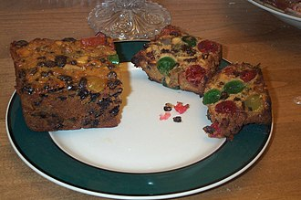Fruitcake - Traditional American fruit cake with fruits and nuts.