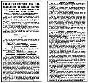 William Phelps Eno - Traffic Regulations first drafted by Eno, as issued by New York City on February 8, 1909