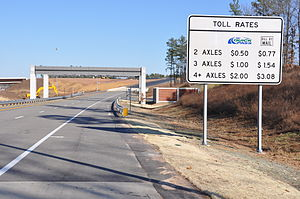 North Carolina Highway 147 - First toll rates, from northbound NC 540 onto NC 147