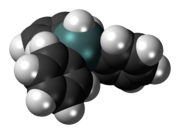 Space-filling model of the triphenyltin hydride molecule