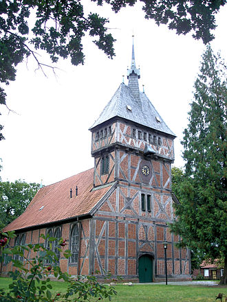 Amt Neuhaus - half-timbered Lutheran Church in Tripkau.