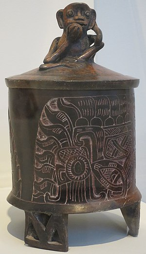 Burnishing (pottery) - Tripod vessel with lid, Maya culture, Mexico or Guatemala, c. 4th-5th century, hand-built ceramic with incised decoration and burnished slip, Honolulu Museum of Art, accession 4183.1