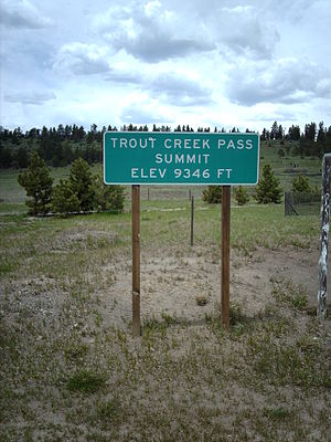 Trout Creek Pass - Sign at the summit