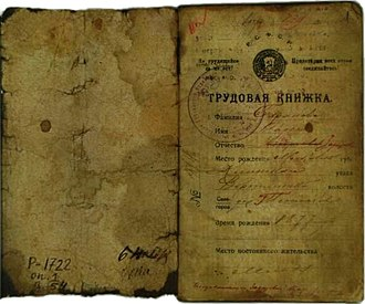 "Employment record book - ""Trudovaya knizhka"" (1919, RSFSR)."