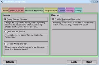 Tux Paint - Tux Paint Config., a graphical configuration tool for Tux Paint