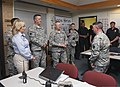 U.S. Army Gen. Frank Grass, center, the chief of the National Guard Bureau, meets with a Soldier with the 45th Infantry Brigade Combat Team, Oklahoma Army National Guard manning the incident command center 130528-Z-VF620-4840.jpg