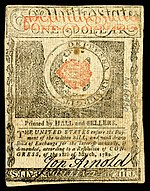 Rhode Island colonial currency, 1 dollar, 1780 (reverse)