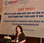 USAID Office of Health Director Laurel Fain addresses the USAID Avian and Pandemic Influenza Initiative Dissemination Workshop (9446943789).jpg
