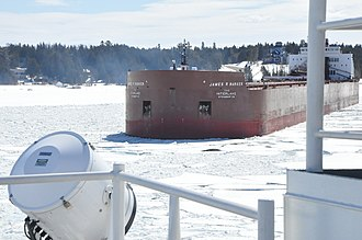 Interlake Steamship Company - Image: USCGC Mackinaw assists M V James R. Barker 130326 G ZZ999 003