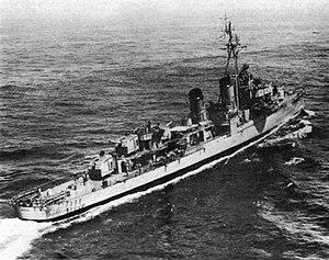 USS Gatling (DD-671) underway in the Mediterranean Sea, in 1959