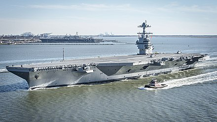 USS Gerald R. Ford, a Gerald R. Ford-class aircraft carrier USS Gerald R. Ford (CVN-78) underway on 8 April 2017.JPG