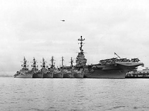 Hunter-killer Group - USS ''Kearsarge'' with the escorts of her hunter-killer group at San Diego in 1961