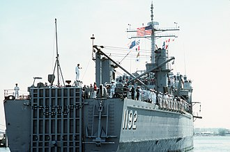 Newport-class tank landing ship - Image: USS Spartanburg County (LST 1192) aft view returning from Operation Desert Storm