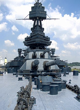 New York-class battleship - Turrets 1 and 2 aboard Texas, showing the 14-inch guns. The New York class was the first US Navy ship type to carry this heavy gun.