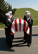 US Navy 040316-N-3560G-017 The Ceremonial Unit assigned to Naval Air Station Lemoore renders full honors at a military funeral at San Joaquin National Cemetery, Gustine, Calif
