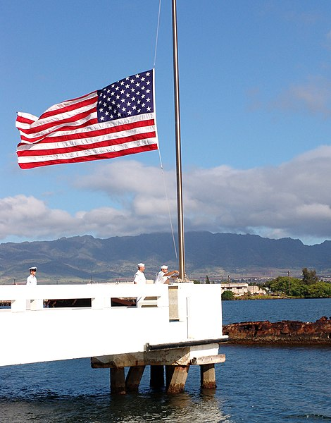 Flag flies at half-staff over the USS Utah, in Pearl Harbor (2004 photo - Pearl Harbor, Hawaii (May 31, 2004) - Sailors assigned to ships based at Pearl Harbor bring the flag to half-mast over the USS Utah Memorial on Ford Island in honor of Memorial Day May 31, 2004. U.S. Navy photo