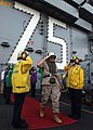 US Navy 050304-N-6363M-018 The Deputy Commanding General, U.S. Marine Corps Forces Central Command, Brig. Gen. Jerry McAbee salutes the side boys as he departs after a visit aboard the Nimitz-class aircraft carrier USS Harry S.jpg