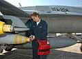 US Navy 070309-N-7427G-003 Aviation Ordanceman Airman Jada Dominey, assigned to Strike Fighter Squadron (VFA) 204, readies fuses for 500-pound bombs during a recent training evolution held aboard Naval Air Station Joint Reserv.jpg