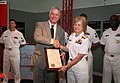 US Navy 070828-N-3271W-005 Vice Adm. Ann E. Rondeau, deputy commander, United States Transportation Command accepts a St. Louis Navy Week declaration plaque from Missouri Lieutenant Governor Peter Kinder.jpg