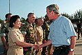 US Navy 070904-N-1531D-006 President Bush shakes hands with a chief petty officer assigned to Naval Support Facility, Diego Garcia during his recent visit to the British Indian Ocean Territory Island.jpg