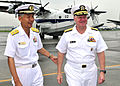 US Navy 090702-N-4031K-005 Vice Adm. Kenichi Kuramoto, commander of the Japan Maritime Self-Defense Force Fleet Air Force, welcomes Chief of Naval Operations (CNO) Adm. Gary Roughead to Naval Air Facility Atsugi.jpg