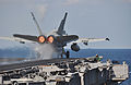 US Navy 091215-N-8421M-008 An F-A-18C Hornet assigned to the Sidewinders of Strike Fighter Squadron (VFA) 86 launches from the aircraft carrier USS Nimitz (CVN 68).jpg