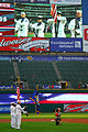 US Navy 100831-N-2903M-123 Sailors from Naval Recruiting District Ohio perform a Colors ceremony during the Cleveland Indians vs. Chicago White Sox baseball game.jpg