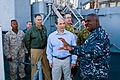 US Navy 110722-N-CZ945-112 Cmdr. Antonio D. Hull explains features of the ship's weapon system to U.S. Ambassador to Australia Jeffery L. Bleich.jpg