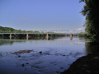 Uhlerstown–Frenchtown Bridge - View from the south New Jersey bank of Uhlerstown Frenchtown bridge.