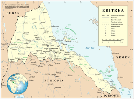 Modern map of Eritrea showing Massawa (now Mitsiwa'e) Un-eritrea.png