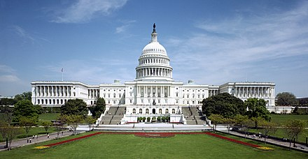 The United States Capitol is the seat of government for Congress. United States Capitol - west front.jpg