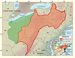 Utica Shale - Map showing the location of the oil and gas assessment units (AU) for the Utica Shale in the Appalachian Basin Province.
