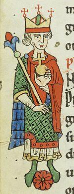 Philip of Swabia;  Miniature from a Weißenau manuscript around 1200