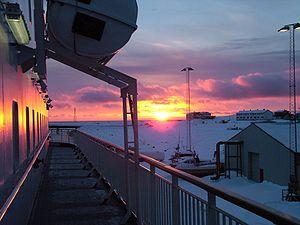 Finnmark - Sunrise at 07:33 in February; Vadsø