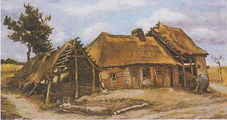 Farmhouse with a Stooping Peasant-woman in a Blue Dress