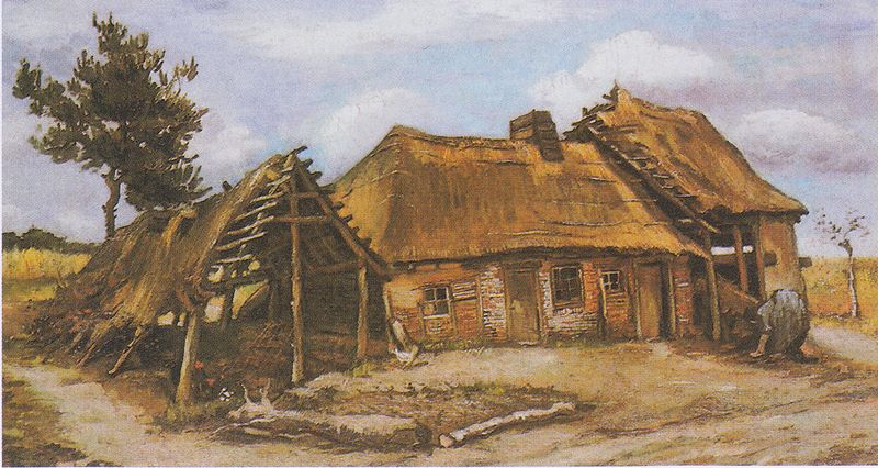 File:Van Gogh - Bauernhaus mit gebückter Bäuerin in blauem Kleid.jpeg