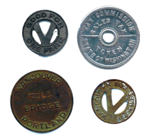 Token coins used in Vancouver during the mid-2...