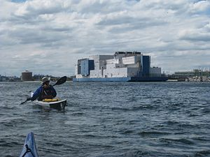 Vernon C. Bain Correctional Center - Vernon C. Bain barge as seen from kayaks on Long Island Sound.