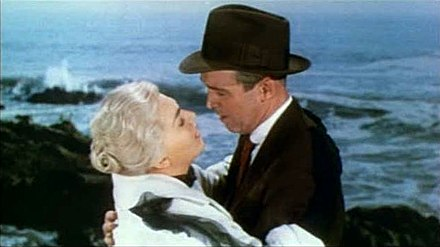 With Kim Novak in Vertigo, 1958 Vertigo 1958 trailer embrace.jpg