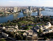 View of Cairo, the largest city in Africa and the Middle East. The Cairo Opera House (bottom-right) is the main performing arts venue in the Egyptian capital.