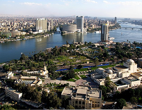 A view of Cairo, the largest city in Africa and the Middle East. The Cairo Opera House (bottom-right) is the main performing arts venue in the Egyptian capital. View from Cairo Tower 31march2007.jpg
