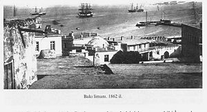 Bay of Baku -  A view to the bay from Icheri Sheher (1862)