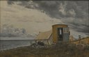 View of a Shore with the Artist's Wagon and Tent at Enö (Laurits Andersen Ring) - Nationalmuseum - 23908.tif