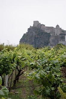 Un vigneto a Ischia Ponte. L'isola produce vini, ad esempio l'Epomeo di Ischia IGT